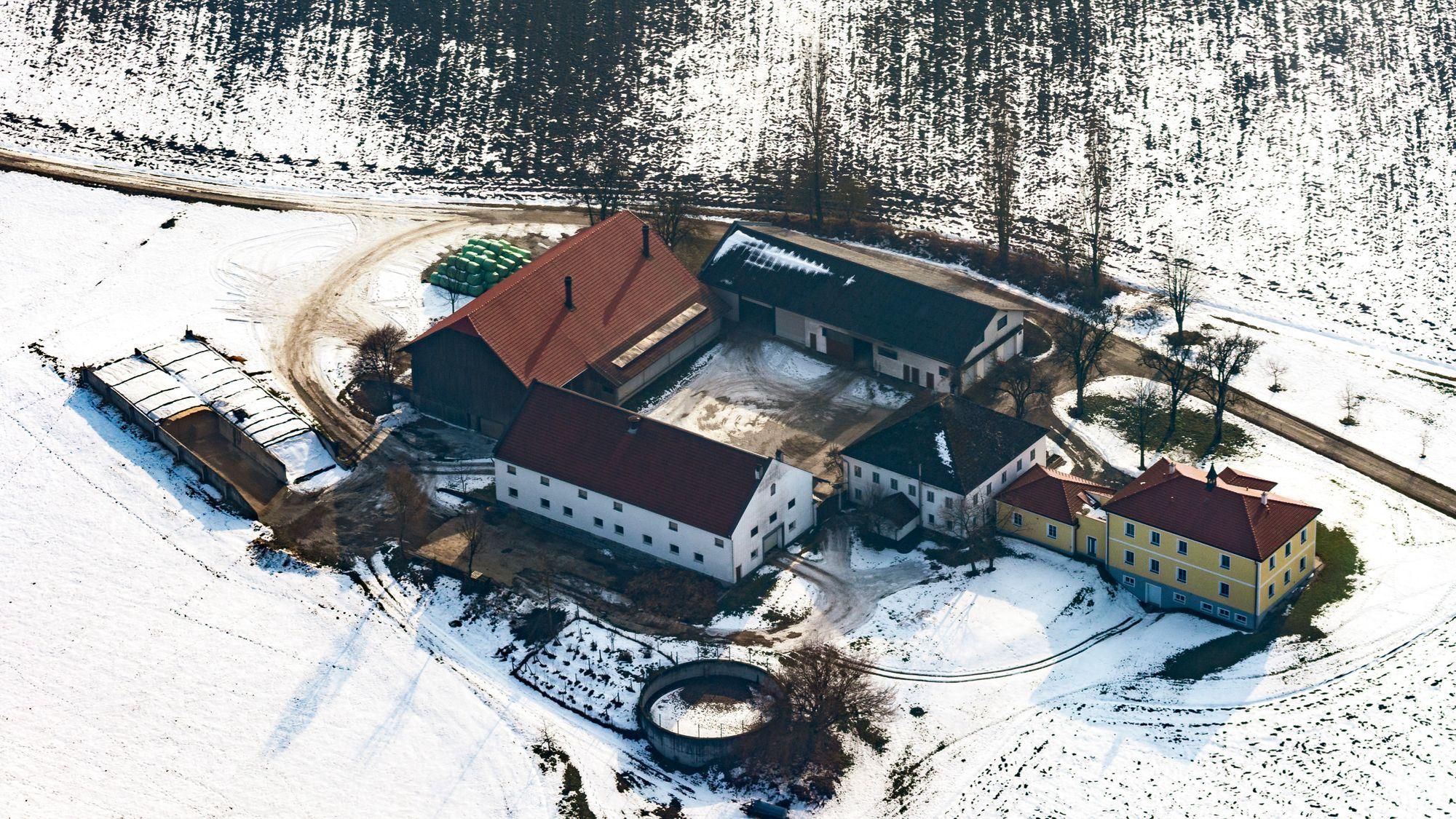 Luftbild des Bauernhofes